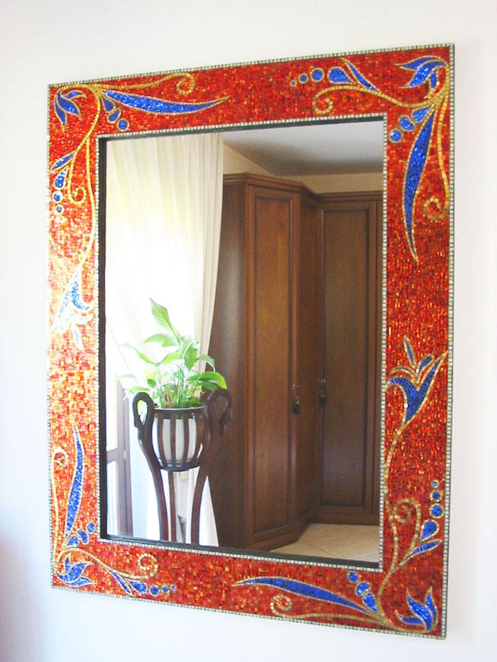 Specchiera floreale - supporto in legno - vetri argentati e foglia d'oro