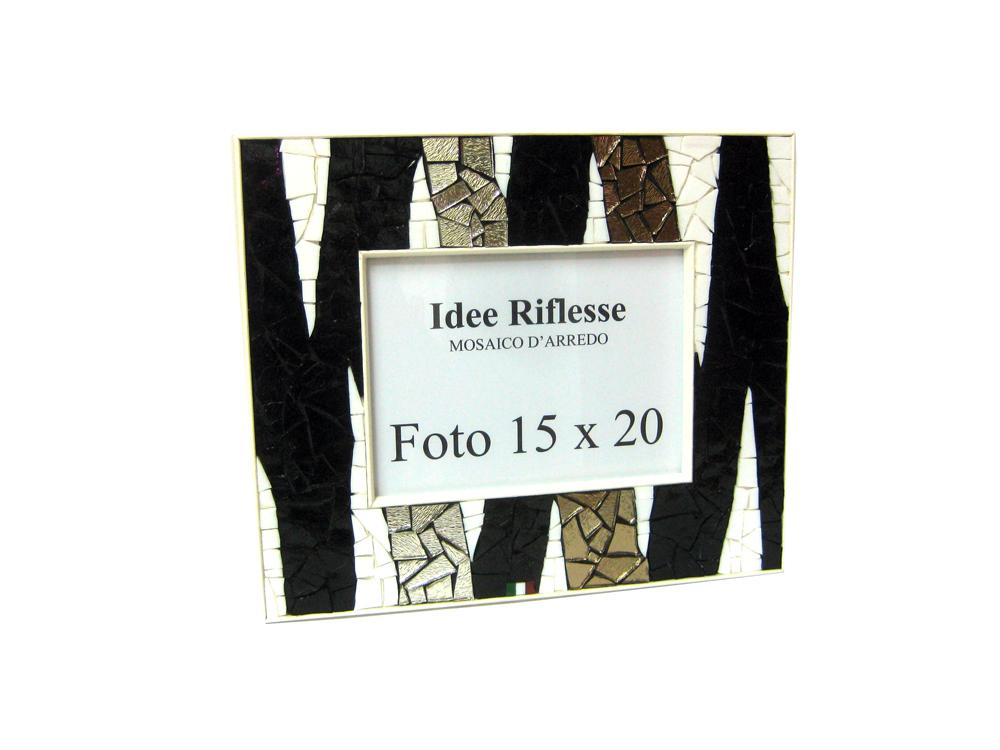 Porta foto Natural Black - dimensioni 31 x 26 cm con spessore bordino 6 cm - supporto in legno multistrato - rivestimento a mosaico con vetri opalescenti e argentati